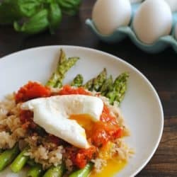 Wild Rice with Asparagus, Fresh Tomato Sauce & Poached Egg – a beautiful, filling vegetarian meal. | foxeslovelemons.com