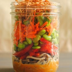 These Asian Noodle Salad Jars are a portable, colorful and healthful lunch that will get you through the work week, deliciously. | foxeslovelemons.com