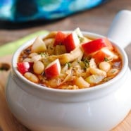 Autumn Chicken Apple Cider Chili - a simple chili with a surprising depth of flavor from fall herbs and apple cider.   foxeslovelemons.com