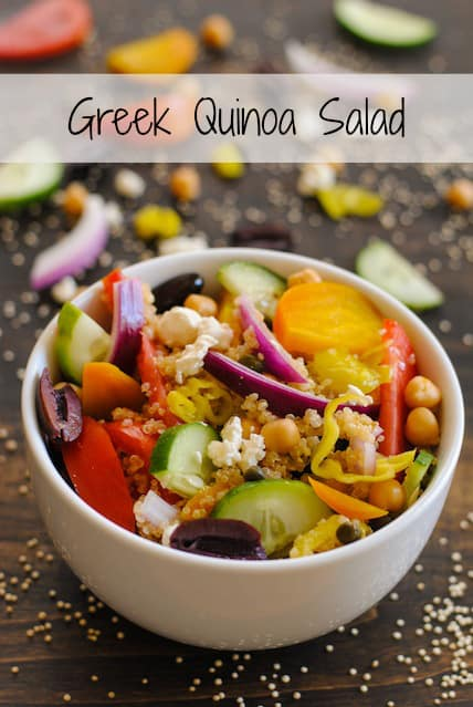 Greek Quinoa Salad - a protein packed salad that uses quinoa in place of lettuce! Perfect for make-ahead lunches or dinner.