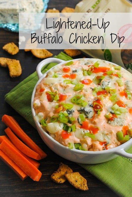 Lightened-Up Buffalo Chicken Dip - a full flavor but lower-fat version of the tailgate classic! | foxeslovelemons.com
