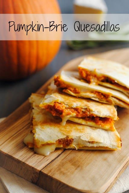 Pumpkin-Brie Quesadillas - a melty, cheese fall treat!