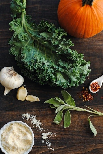 Pumpkin & Kale Lasagna - A hearty dish filled with fall flavors like pumpkin and sage. Can be vegetarian, or chicken sausage may be added, if desired.