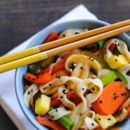 Sweet & Sour Vegetarian Stir Fry – a quick, heathy, gluten-free dish that takes just 15 minutes to make! | foxeslovelemons.com