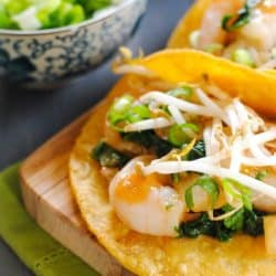 Thai Ginger-Lemongrass Shrimp Tacos - a quick and healthy Asian-inspired meal. | foxeslovelemons.com