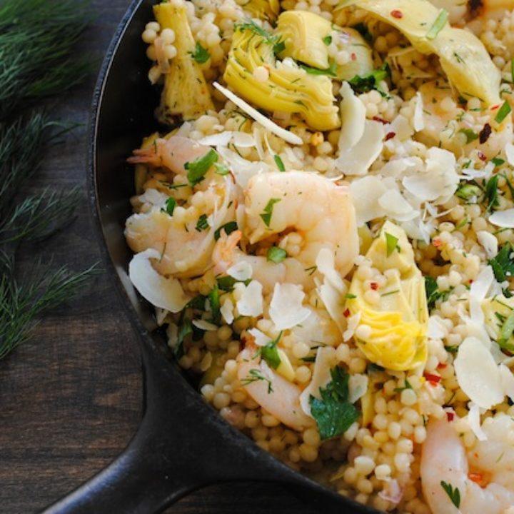 Lemon and Artichoke Couscous with Shrimp