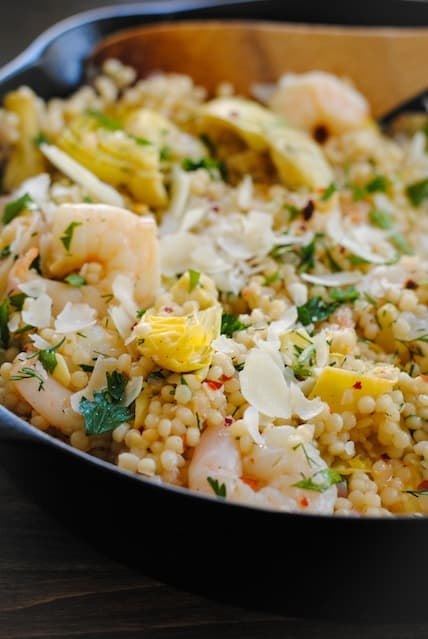Lemon and Artichoke Israeli Couscous with Shrimp | www.foxeslovelemons.com