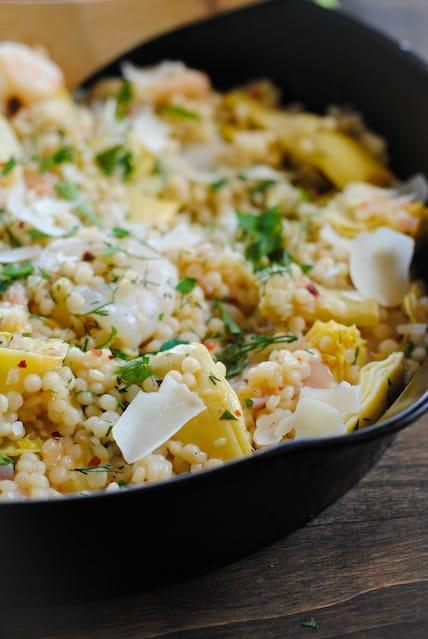 Lemon and Artichoke Israeli Couscous with Shrimp   www.foxeslovelemons.com