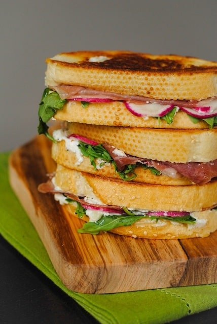 Prosciutto, Chevre & Radish Toasted Sandwich | foxeslovelemons.com