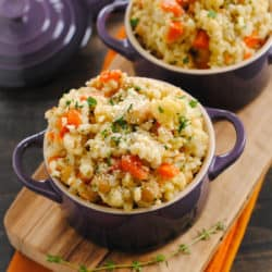 When you make this Slow Cooker Barley & Chickpea Risotto, your crock pot does all the work for you! Slow cooked whole grains packed with chickpeas and vegetables. | foxeslovelemons.com