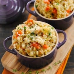 Slow Cooker Barley and Chickpea Risotto - a big bowl of whole grains packed with chickpeas, cauliflower and vegetables. Your slow cooker does all the work for you! | foxeslovelemons.com