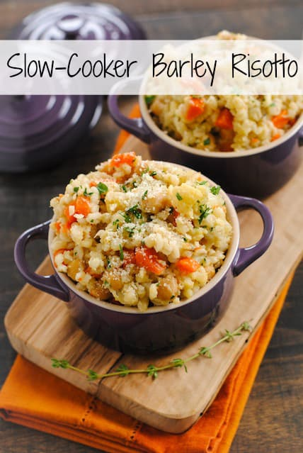 Slow-Cooker Barley and Chickpea Risotto - a big bowl of whole grains packed with chickpeas, cauliflower and vegetables. Your slow cooker does all the work for you!