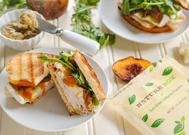 Turkey, Brie & Peach Panini - a sweet, savory & cheesy turkey sandwich.