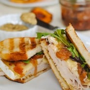 Turkey, Brie & Peach Panini - a sweet, savory & cheesy turkey sandwich. | foxeslovelemons.com