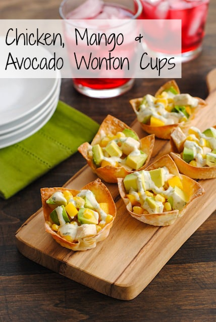 Chicken, Mango & Avocado Wonton Cups - Perfect for New Year's Eve! A simple, colorful and flavorful finger food! | foxeslovelemons.com