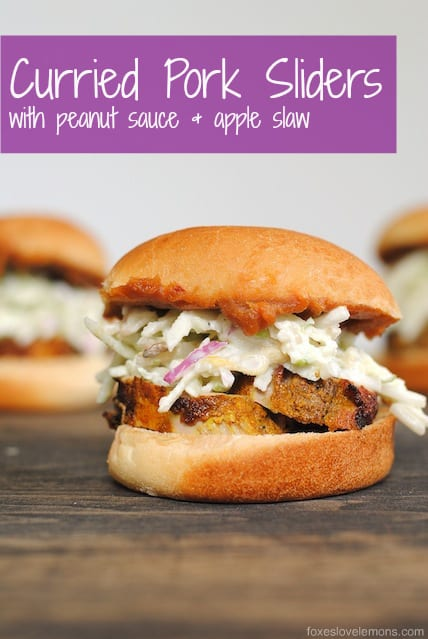 Curried Pork Sliders with Spicy Peanut Sauce and Apple Slaw | www.foxeslovelemons.com