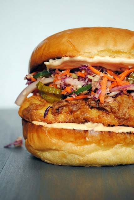 The Best Sandwich You'll Ever Eat - Fried Chicken Sandwiches with Pickle Coleslaw!! | foxeslovelemons.com