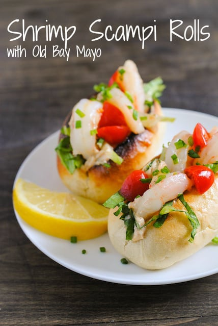 Shrimp Scampi Rolls with Old Bay Mayo - An appetizer-sized shrimp roll perfect for any celebration. Comes together in just 15 minutes!   foxeslovelemons.com
