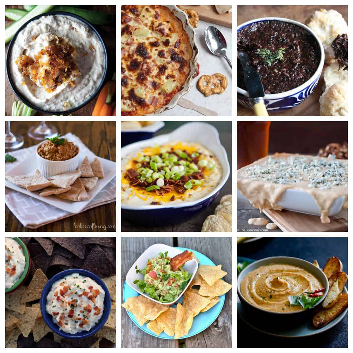 Party Dips for The Big Game - A roundup of delicious and unique crowd-pleasing dip recipes.