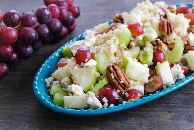 Fruit, Nut & Gorgonzola Quinoa Salad with Apple Cider Vinaigrette | www.foxeslovelemons.com