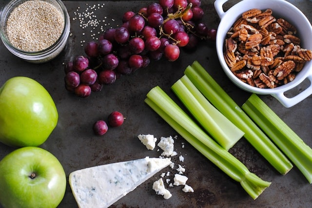 Fruit, Nut & Gorgonzola Quinoa Salad with Apple Cider Vinaigrette   www.foxeslovelemons.com