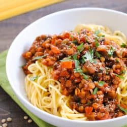 Mushroom & Lentil Ragu - A hearty vegetarian pasta sauce that will leave even the hungriest eaters satisfied!