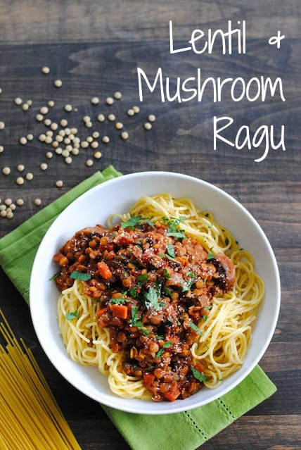 Lentil & Mushroom Ragu - A hearty vegetarian pasta sauce that will leave even the hungriest eaters satisfied!