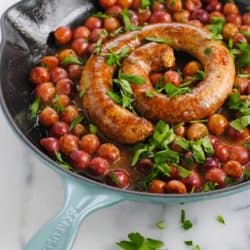 Roasted Chorizo, Grapes, Rice & Lentil Skillet Dinner - A five ingredient meal for a Spanish-inspired date night at home! | foxeslovelemons.com