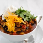 """Chorizo"" & Black Bean Vegetarian Chili #SundaySupper"