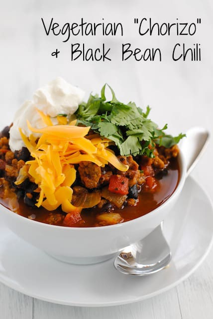 """Chorizo"" & Black Bean Vegetarian Chili - A hearty and healthy chili made with chorizo-flavored seitan that will fool even the biggest meat lovers!"
