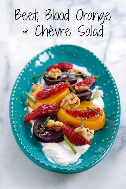 Beet, Blood Orange & Chevre Salad - Roasted beets, blood orange segments, walnuts, chives, chevre cream and white wine vinaigrette. A beautiful, heart-healthy and delicious salad! | foxeslovelemons.com