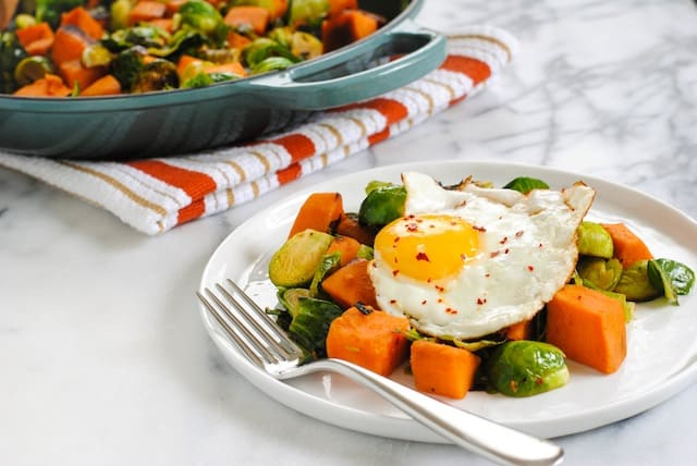 Sweet Potato & Brussels Hash - Put an egg on it! | foxeslovelemons.com