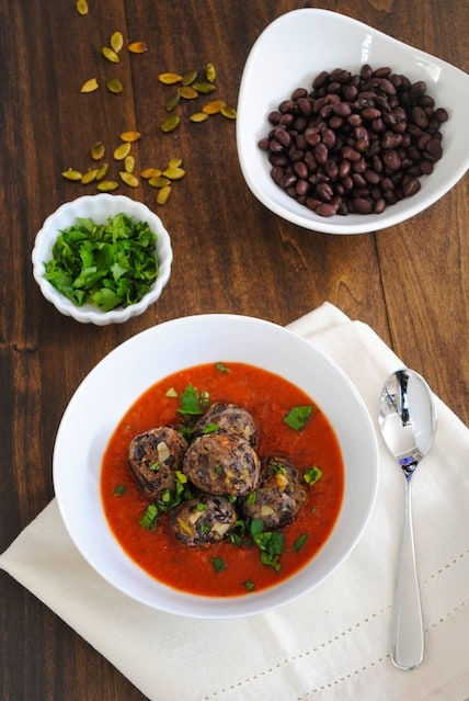 "Black Bean ""Meatballs"" with Marinara - A meatless meal that's a crowd pleaser!"