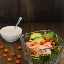 Salmon & Crispy Chickpea Spinach Salad - Fresh spinach, broiled salmon, creamy avocado and crunchy chickpeas with a chipotle-lime Greek yogurt dressing. | foxeslovelemons.com