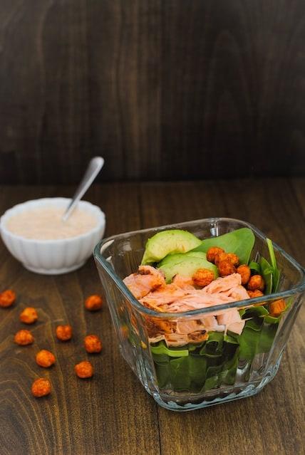 Salmon & Crispy Chickpea Spinach Salad