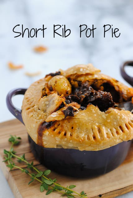 Short Rib Pot Pie - Luscious short ribs glazed with red wine and topped with flaky pastry. | foxeslovelemons.com