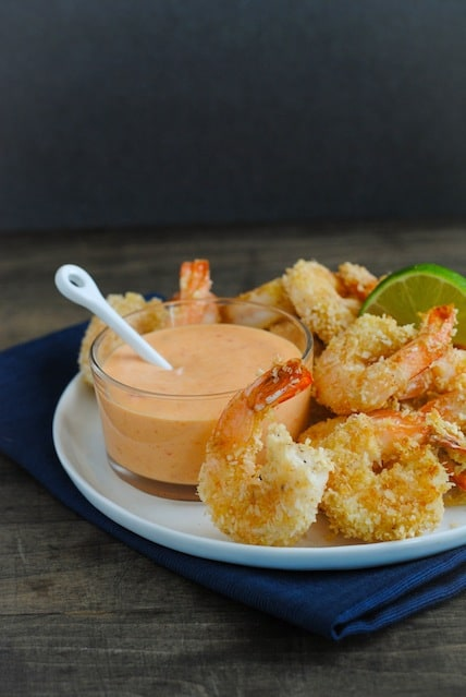 Baked Coconut Shrimp with Creamy Sweet Chili Sauce - A light and delicious restaurant-quality meal or appetizer that comes together in just minutes!