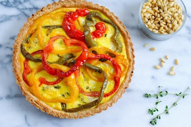 Bell Pepper Quiche with Pine Nut Crust - A unique Spanish-inspired quiche perfect for brunch! | foxeslovelemons.com