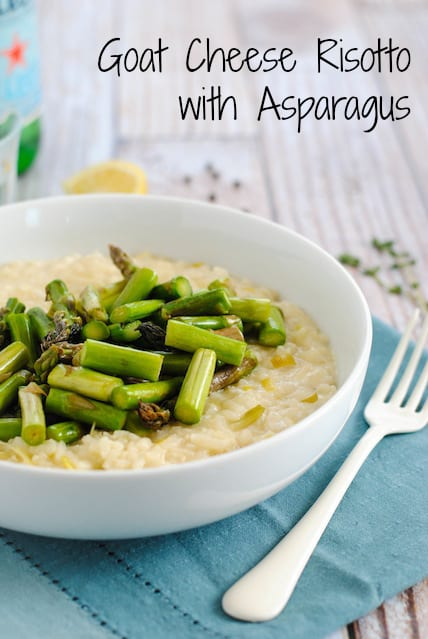Goat Cheese Risotto with Asparagus - A restaurant-quality dish YOU can make at home. Creamy leek and goat cheese risotto topped with sautéed asparagus.   foxeslovelemons.com