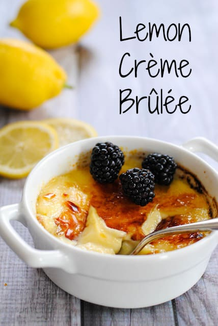 Lemon Crème Brûlée - Rich lemon-infused custard with a torched sugar top. | foxeslovelemons.com