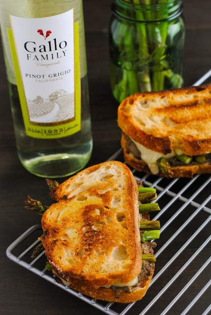 Mushroom & Asparagus Grilled Cheese - Crusty bread filled with a sautéed mushroom mixture, roasted asparagus and Gruyere cheese.