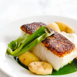 Seared Chilean Sea Bass Recipe with Potatoes & Herb Sauce - Make a beautiful, healthy restaurant-quality dish at home in 17 minutes. | foxeslovelemons.com