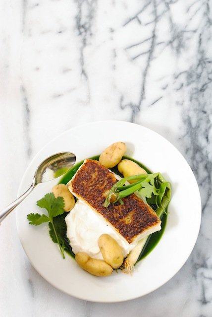 Seared chilean sea bass recipe with potatoes herb sauce foxes seared chilean sea bass recipe with potatoes herb sauce make a beautiful healthy forumfinder Images