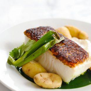 Seared Chilean Sea Bass Recipe With Potatoes Amp Herb Sauce