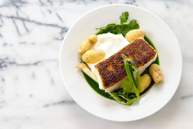 Seared Chilean Sea Bass Recipe with Potatoes & Herb Sauce ...