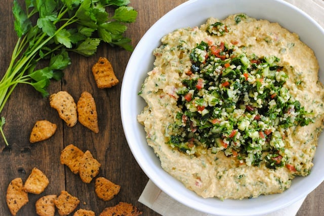 Tabbouleh Hummus - A big bowl of fresh, healthy Mediterranean dip! | foxeslovelemons.com