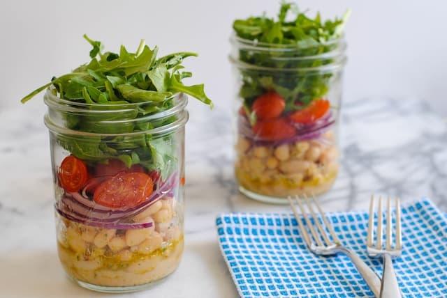 Make-Ahead Recipes - White Bean Salad Jars from foxeslovelemons.com