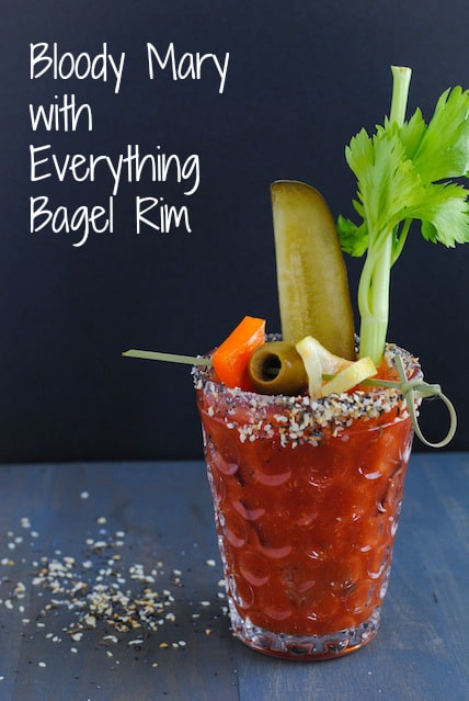 Bloody Mary with Everything Bagel Rim - A homemade version of the classic brunch cocktail, rimmed with everything bagel seasoning mix!