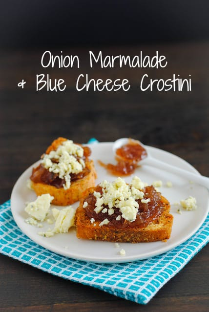 Onion Marmalade & Blue Cheese Crostini - A 5-minute appetizer that couldn't be tastier! | foxeslovelemons.com