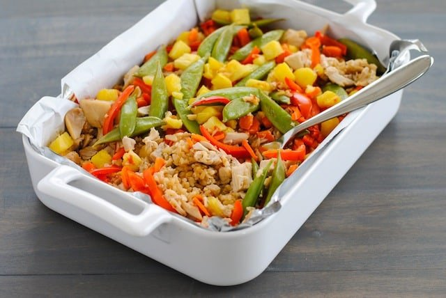 Sweet and Sour Chicken Stir-Fry Casserole - An Asian-inspired chicken and rice casserole that is loaded with veggies! A breeze to prepare and clean up. | foxeslovelemons.com